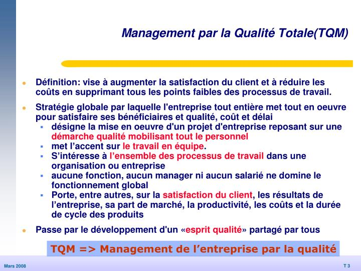 Management par la Qualité Totale(TQM)