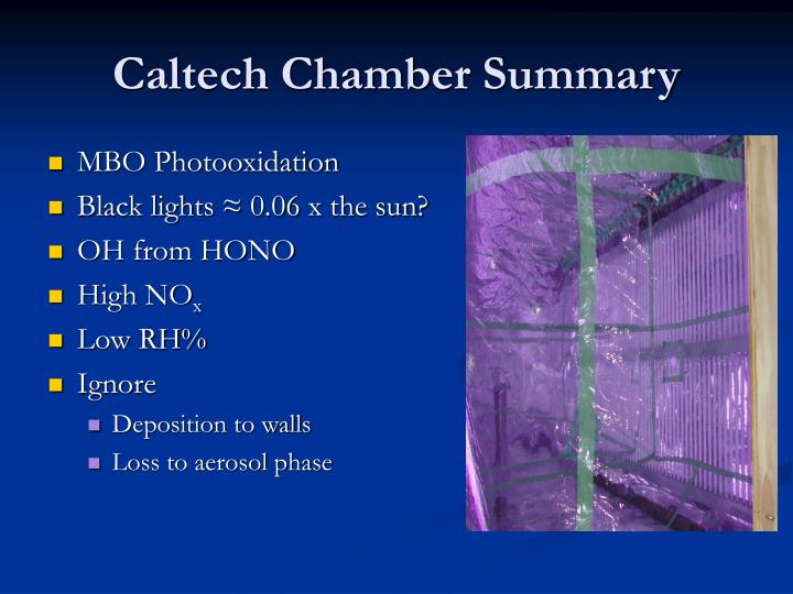 Caltech Chamber Summary