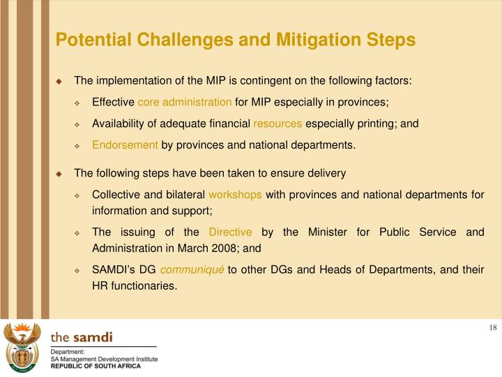 Potential Challenges and Mitigation Steps