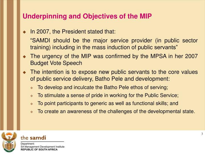 Underpinning and Objectives of the MIP