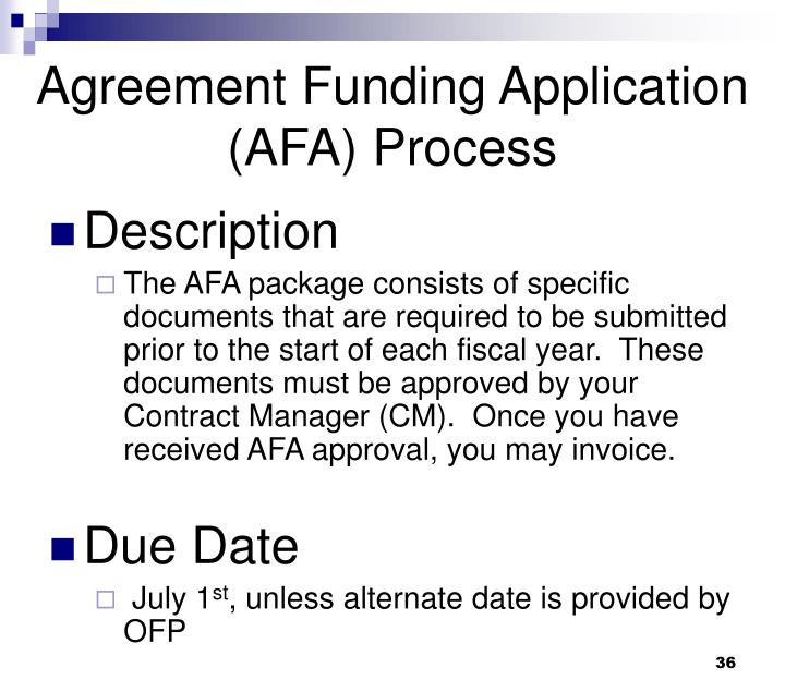 Agreement Funding Application