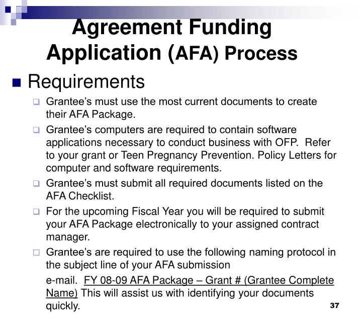 Agreement Funding