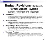 budget revisions continued formal budget revision grant amendment required
