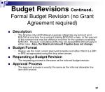 budget revisions continued formal budget revision no grant agreement required