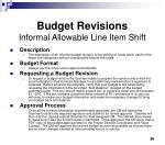 budget revisions informal allowable line item shift