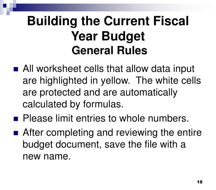 Building the Current Fiscal Year Budget