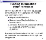 funding information budget restrictions
