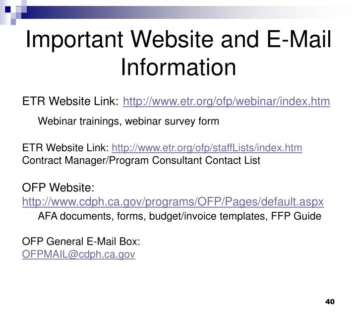 Important Website and E-Mail Information