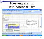 payments continued initial allotment form