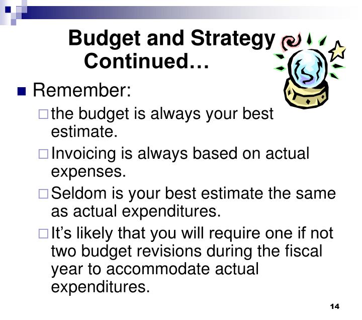 Budget and Strategy Continued…