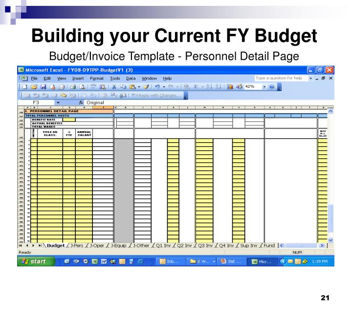 Building your Current FY Budget