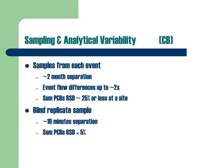 Sampling & Analytical Variability (CB)