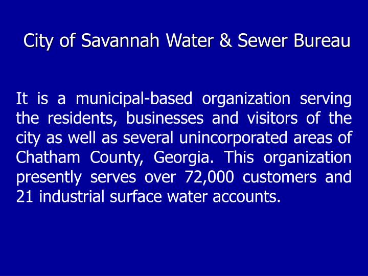 City of Savannah Water & Sewer Bureau
