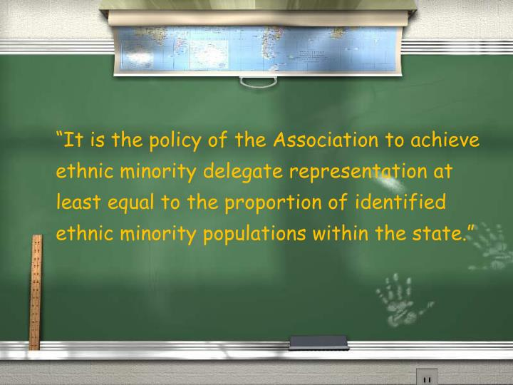 """It is the policy of the Association to achieve ethnic minority delegate representation at least e..."
