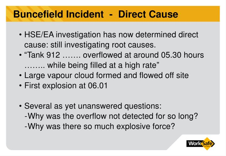 Buncefield Incident  -  Direct Cause