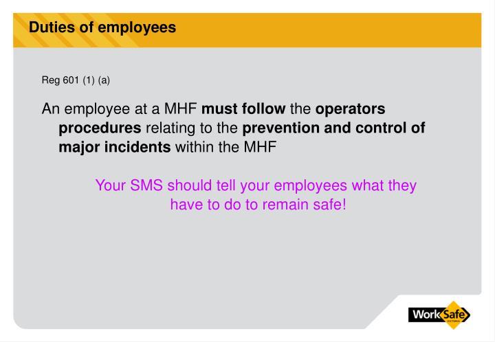 Duties of employees