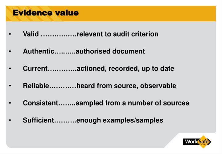 Evidence value