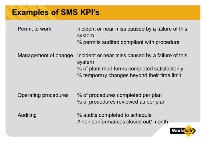 Examples of SMS KPI's