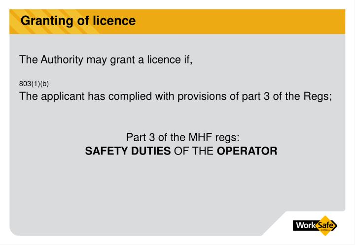 Granting of licence