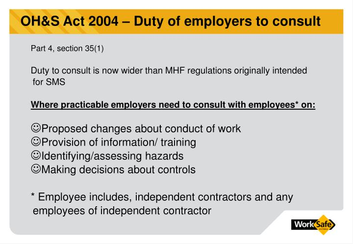OH&S Act 2004 – Duty of employers to consult