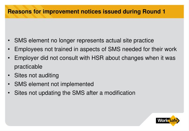 Reasons for improvement notices issued during Round 1