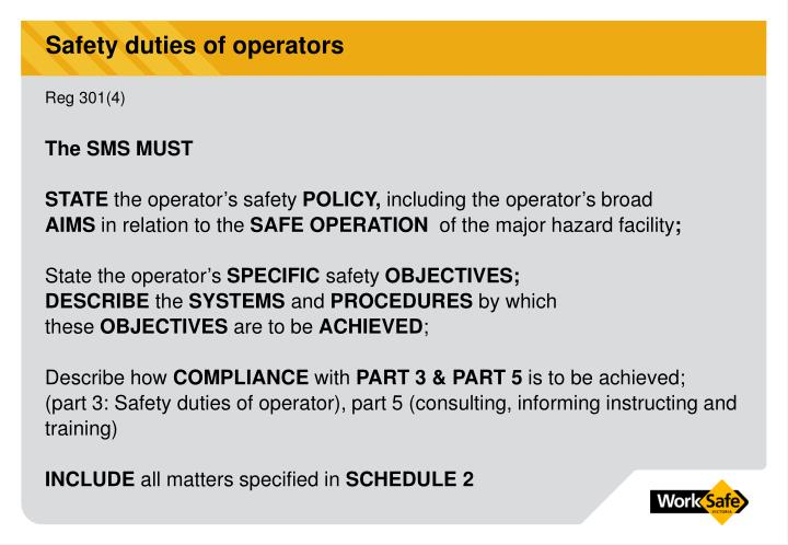 Safety duties of operators