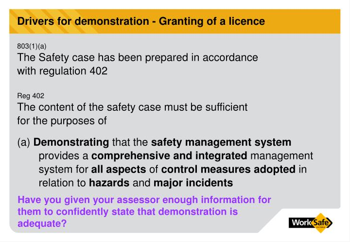 Drivers for demonstration - Granting of a licence