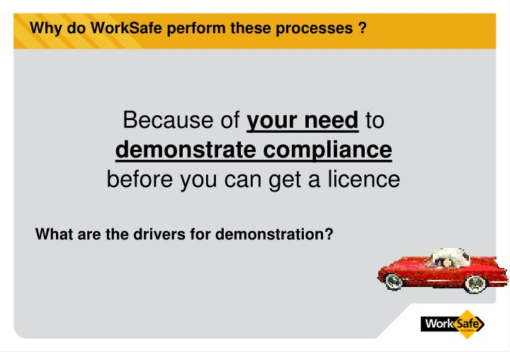 Why do WorkSafe perform these processes ?