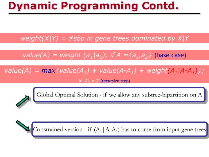 Dynamic Programming Contd.