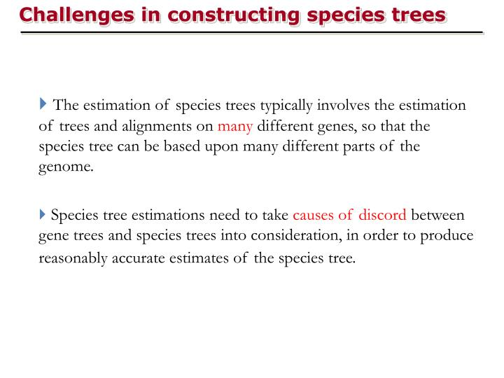 Challenges in constructing species trees