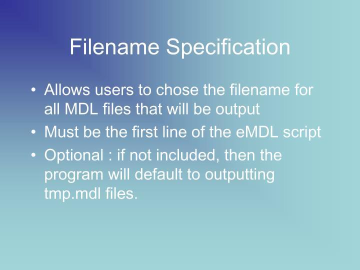 Filename Specification