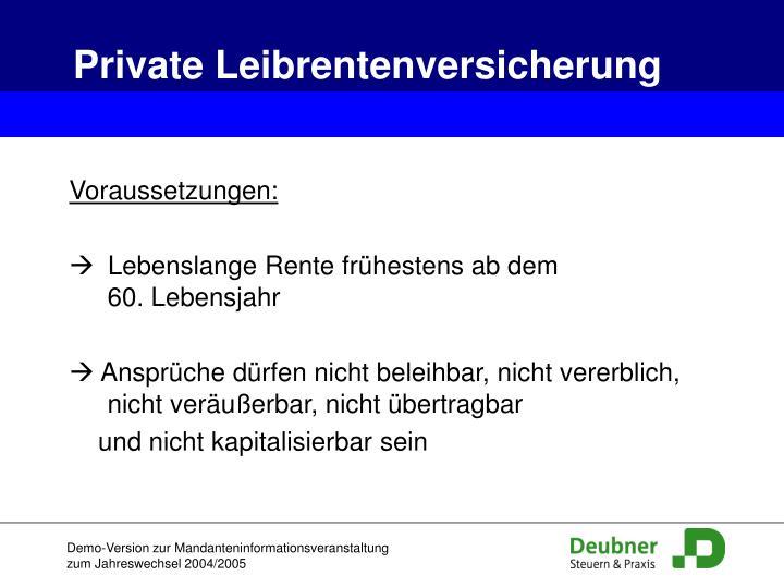 Private Leibrentenversicherung