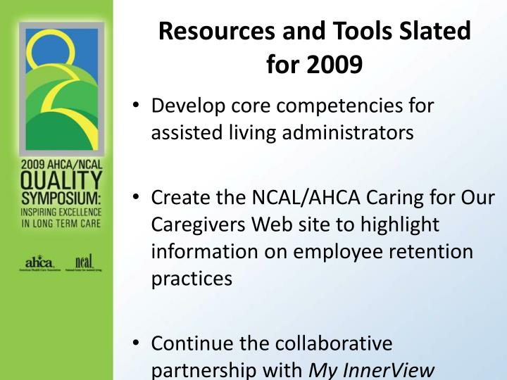 Resources and Tools Slated