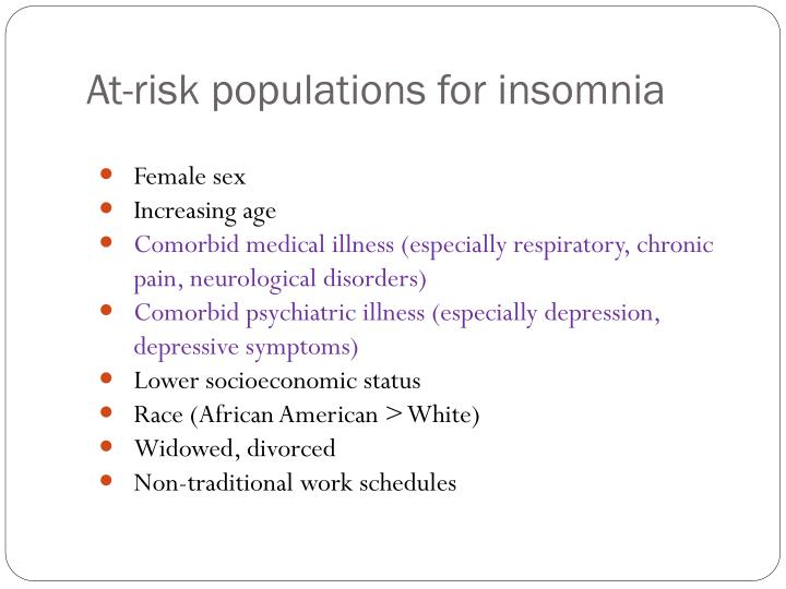 At-risk populations for insomnia