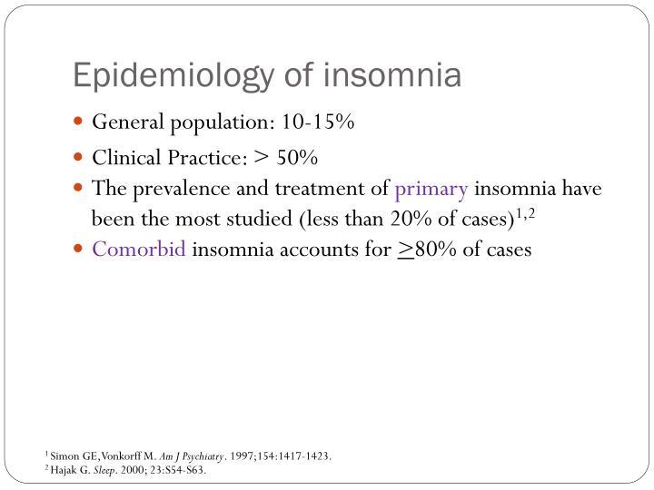 Epidemiology of insomnia