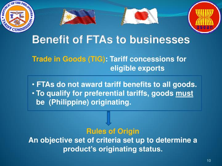 Benefit of FTAs to businesses