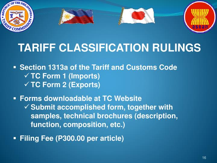 TARIFF CLASSIFICATION RULINGS