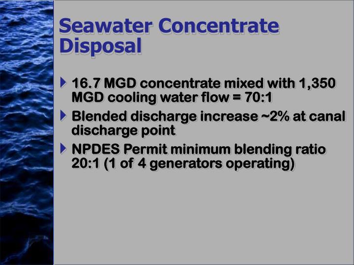 Seawater Concentrate Disposal