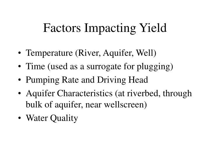 Factors Impacting Yield