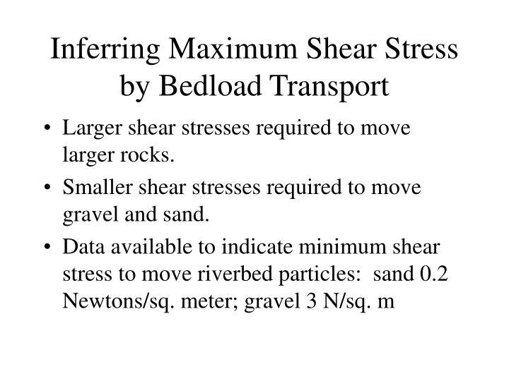 Inferring Maximum Shear Stress by Bedload Transport
