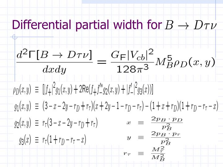 Differential partial width for