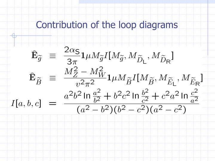 Contribution of the loop diagrams