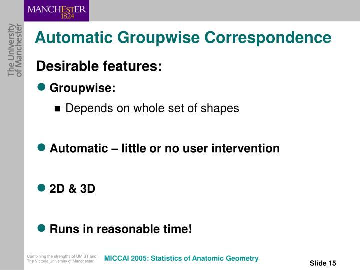 Automatic Groupwise Correspondence