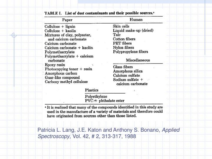 Patricia L. Lang, J.E. Katon and Anthony S. Bonano,