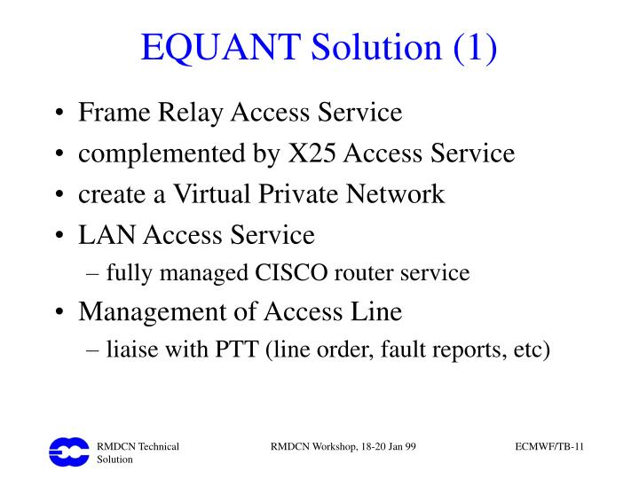 EQUANT Solution (1)