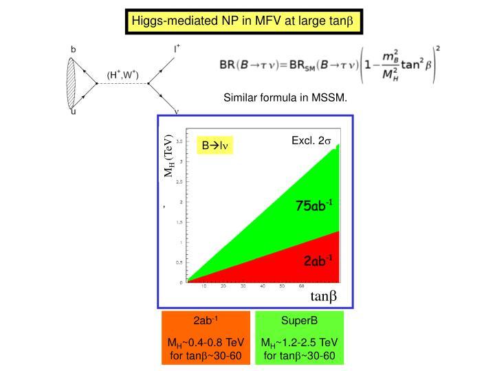 Higgs-mediated NP in MFV at large tan