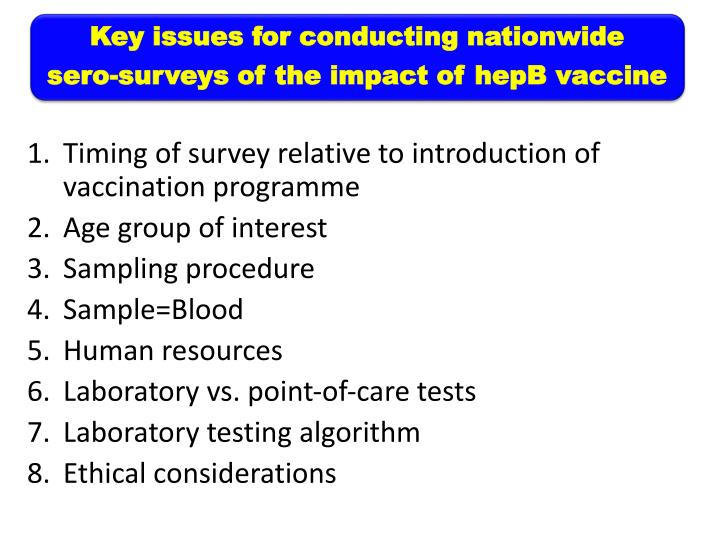 Key issues for conducting nationwide