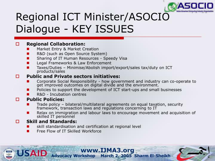 Regional ICT Minister/ASOCIO Dialogue - KEY ISSUES