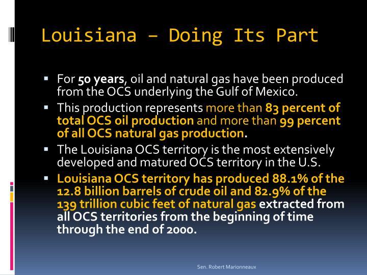 Louisiana – Doing Its Part