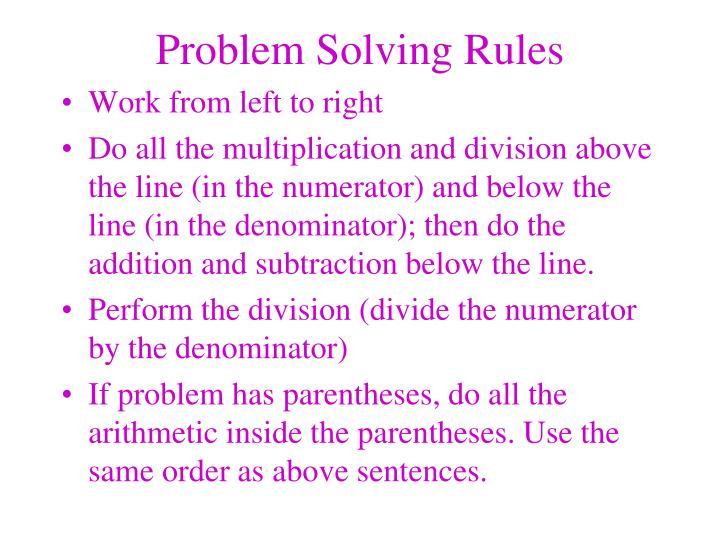 Problem Solving Rules